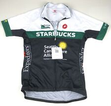 Castelli Womens Starbucks Cancer Full Zip Cycling Jersey XL Black White Green