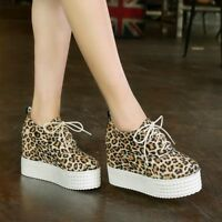 Women's Platform Wedge High Heel Pumps Round Toe Lace Up Leopard Creeper Shoes