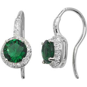 Silver White & Green Emerald Cubic Zirconia Round Drop Earrings Jewellery