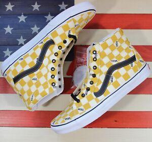 VANS Sk8 Hi Skate Shoe Yolk-Yellow/True-White/Black Plaid  [VN0A4U3CWYT] Mens 12