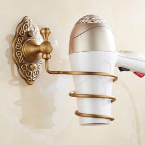 Brass Hair Dryer Blower Holder Spiral Rack Wall Hanger Storage Shelf Antique K21
