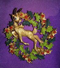 Vintage florenza gold tone stag deer and wreath rhinestone enamel brooch RARE 13