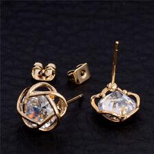 Drop Dangle Flower Stud Earrings Jewelry 1 Pair Women Gold Plated Cubic Zirconia