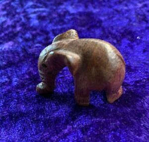 Vintage Tiny Miniature Carved Wooden Elephant Charm