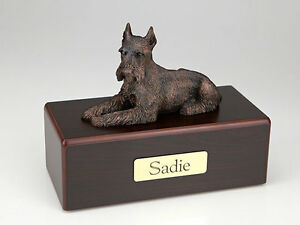 Bronze Schnauzer Dog cremation urn