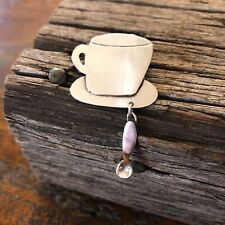 Vintage Sterling Silver Coffee Cup And Spoon Dangle Brooch By Anne Harvey