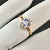 Natural 2.30 Ct Oval Cut Gemstone Blue Sapphire Real 14K Solid Yellow Gold Rings