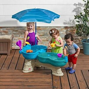 Step2 Spill & Splash Water Table with 11 Piece Accessory Set and Umbrella