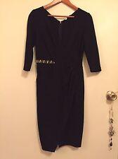 Versace Collection Black Long Sleeve V-neck Knit Side Peek Dress SZ 42 (us6)