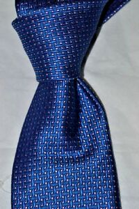 "$225 NWOT BRIONI Dark Blue Hook check men's handmade 3.6"" woven silk tie ITALY"