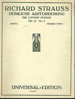 """Richard Strauss :"""" Heimliche Aufforderung """" Op. 27 No. 3 für Gesang und Klavier"""