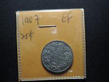 1907 25 Cent Coin Canada King Edward VII Twenty Five Cents .925 Silver EF Grade