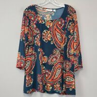 Susan Graver M Paisley print 3/4 sleeve tunic top Stretch Knit Casual Loose fit