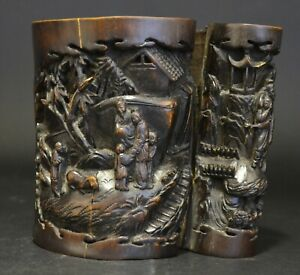 A Chinese Carved Bamboo Brushpot, 19th century