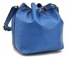 Authentic Louis Vuitton Epi Petit Noe Blue Shoulder Bag LV A4603