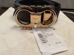 New Salvatore Ferragamo Men's Belt Blue Gancini Size 40/100CM Adjustable Leather