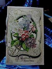 WINSCH GERMANY OPEN WORK birthday book postcard FLORAL  NOSEGAY LILACS 1912