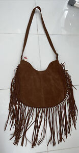 NWT Canon River Blues by Sears Brown Suede Fringe Crossbody Shoulder Bag Purse