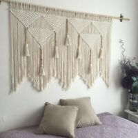 Macrame Wall Hanging Handwoven Bohemian Cotton Rope Boho Tapestry Home Deco G7C9