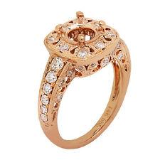 14K Rose Gold Diamond Engagement Ring Setting Semi Mount 0.65ct  Size 6