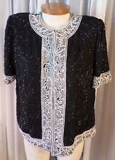 New Black XL Bead Heavily Beaded Lady Woman Lined Formal Top Blouse 14 16 Short