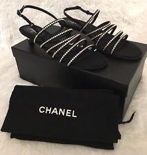 NIB Chanel 25MM Ruler Black Crystal Strappy Sandals 40 $1125