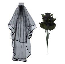 HALLOWEEN CORPSE BRIDE BLACK WEDDING VEIL ROSES DAY OF THE DEAD FANCY DRESS