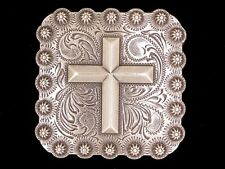 "Western Equestrian Cowboy Tack Silver Cross Set of 6 1-3/8"" Square Conchos"