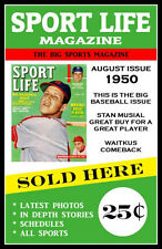 1950 Stan Musial Sport Life Baseball Magazine Poster - Buy Any 2 Get 1 Free