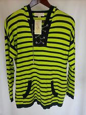 New MICHAEL KORS womens long sleeve hooded top-sweater-S-black kiwi striped-$150