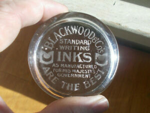 BLACKWOOD & CO STANDARD WRITING INKS ANTIQUE GLASS ADVERTISING PAPERWEIGHT 1915?