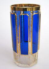 Glas mit Leistenschliff Kobaltblauer Überfang