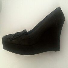 new RRP $170 WITTNER BLACK LEATHER SUEDE WEDGES SHOES sz 42