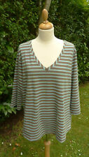 Elisabeth Liz Claiborne 3/4 sleeved v neck striped top size XL BNWT        (C8)