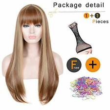 """Long Straight Brown Mixed Blonde Wig - Heat Resistant Synthetic Hair 24"""""""