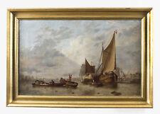 Antico DIPINTO OLANDESE di Barche su un Estuario CERCHIO Hermans Koekkoek 19th C