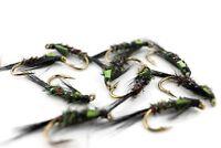Chartreuse Cheek, Diawl Bach, Still Water Lake Nymphs, Fly Fishing Flies, Trout