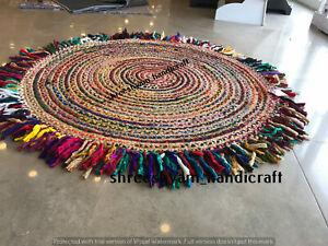 "3""Feet Indian Natural Round Rug Braided Cotton&Jute Rug Decor Floor Living Rug"