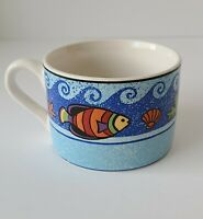Sango Sue Zipkin Pisces Pattern #4896 Flat Coffee or Tea Cups Mugs Set Of 4