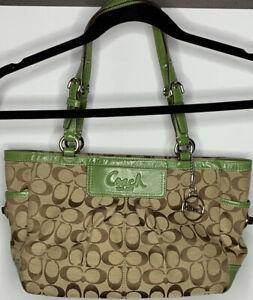 Coach Pleated Gallery Purse Carryall  Logo Handbag Brown Green Shoulder Bag