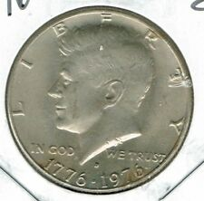 1976 Denver Uncirculated Copper-Nickel Clad Copper Strike Half Dollar Coin!