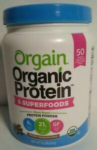 Orgain Organic Protein Powder, Creamy Chocolate Fudge, 1.12lbs, EXP: 08/26/2022