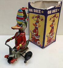 Jouet mécanique Canard à hélice sur tricycle Duck on Bike wind-up - 1980's - BE+