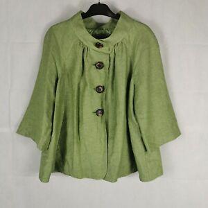 Ladies Jacket Size 16 PER UNA Green Linen Blend 3/4 Sleeves Lagenlook Boxy