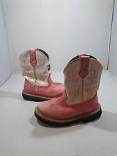 John Deere Cowboy Boots Boys 12 Pink Ostrich White Top Western Kids Jd2171 Shoe