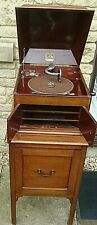 More details for vintage 1930's mahogany hmv 103 gramophone & matching record cabinet & 101 78's