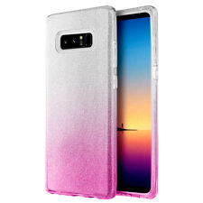 For SAMSUNG GALAXY NOTE 8 - Pink Silver Glitter Sparkle Rubber TPU Case Cover