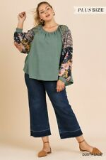 umgee floral mixed print long sleeve cotton boho top blouse plus xl 1x 2x