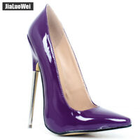 Sexy Women Shoes Pointy Toe High Stiletto Heel 18CM Patent Leather Slip-on Pumps