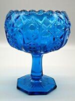 """Vintage Kemple Toltec Blue Glass Compote Quintec Hobstar & Cane Panel 6.5"""" MCM"""